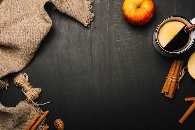 Pano de linho e composição de alimentos outono