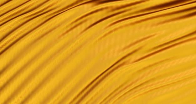 Pano dourado, fundo dourado liso luxuoso, cetim ondulado de seda, renderização 3d