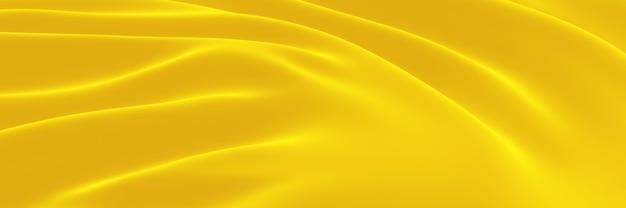 Pano ondulado amarelo renderizado 3d. fundo abstrato da onda.