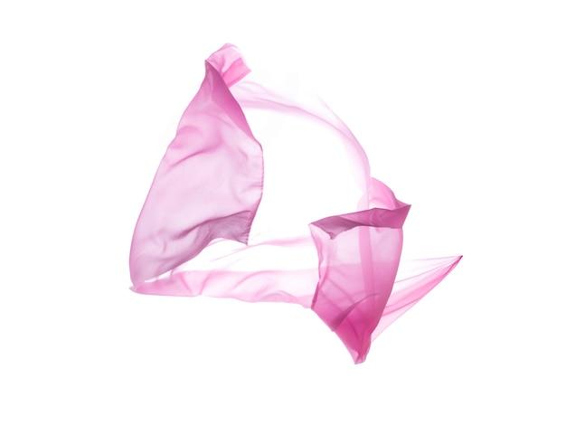 Pano rosa transparente elegante e liso, seda voadora, textura de tecido voador. isolado com traçados de recorte sobre fundo branco.