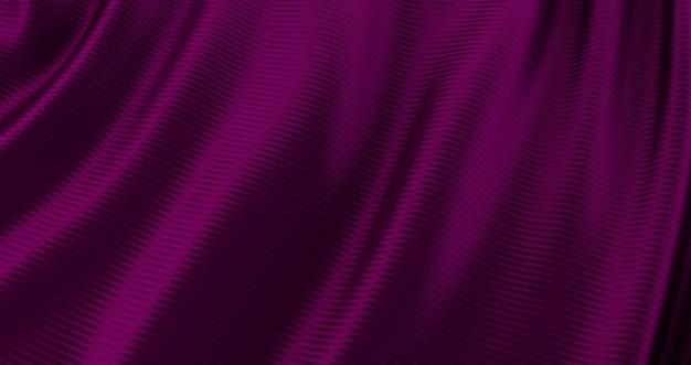 Pano roxo, fundo liso luxuoso, cetim ondulado de seda, renderização 3d
