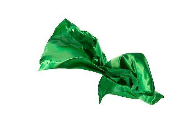 Pano verde transparente elegante liso separado em fundo branco.