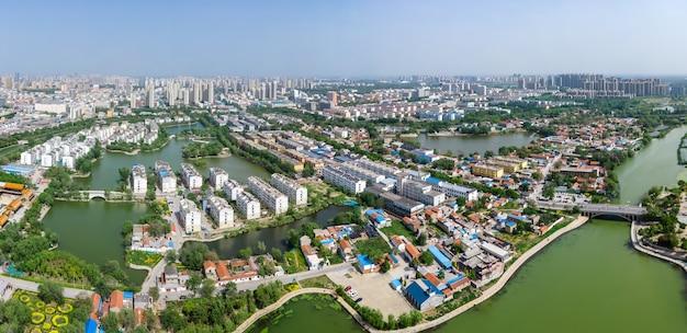 Panorama aéreo da antiga cidade de dongchang em liaocheng, província de shandong