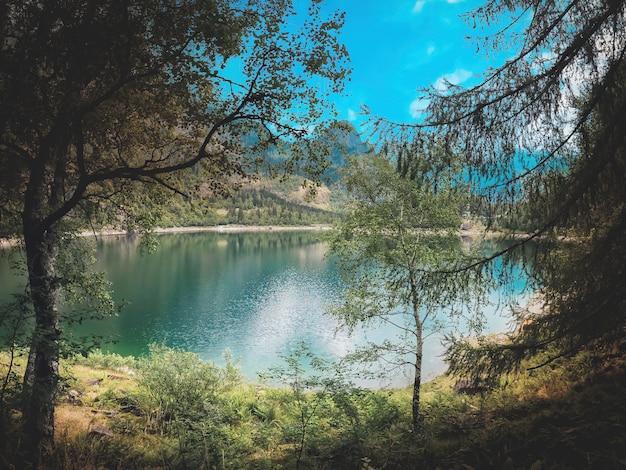 Panorama alpino com lago turquesa