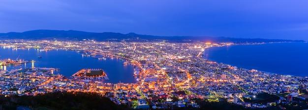 Panorama da cidade de hakodate vista da montanha hakodate