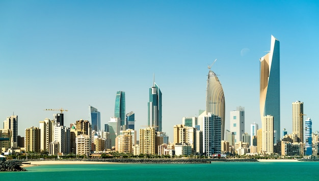 Panorama da cidade do kuwait no golfo pérsico