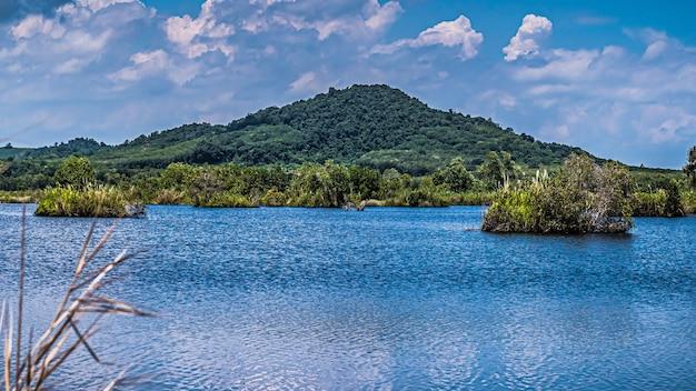 Panorama da paisagem de verão com lago de montanha transparente e paisagem florestal rayong provincial east plant center tailândia