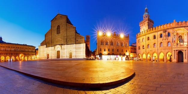Panorama da praça piazza maggiore, bolonha, itália