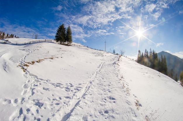 Panorama das montanhas de inverno dos cárpatos e o sol