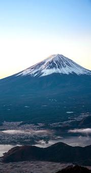Panorama de japão do nascer do sol de montanha fuji