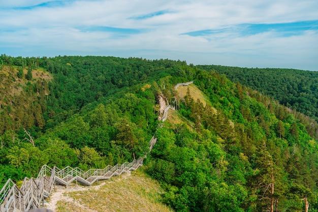 Panorama de montanhas com densa floresta no rio volga