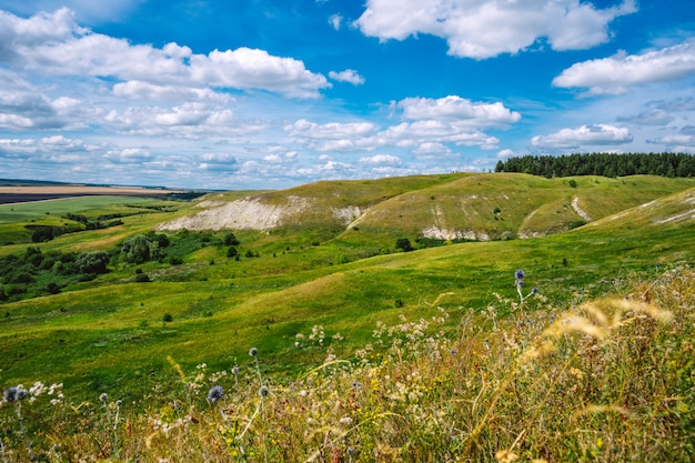 Panorama de uma paisagem pitoresca com colinas e gramados verdes e um céu azul com nuvens