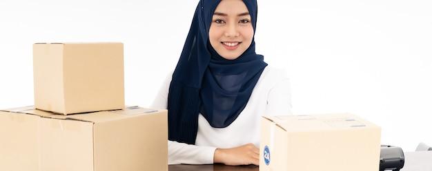 Panorama de venda de comerciante on-line muçulmano