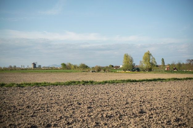 Panorama do campo nas planícies italianas na primavera