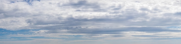 Panorama do céu azul com densas nuvens brancas e cinzentas