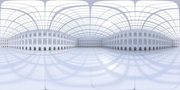 Panorama hdri esférico completo 360 graus de espaço de exposição vazio. cenário para exposições e eventos. piso de cerâmica. simulação de marketing. ilustração 3d render