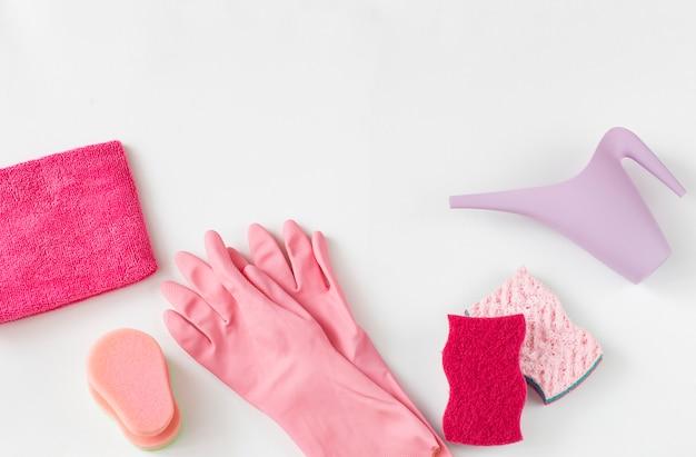 Panos, esponjas, luvas descartáveis e um regador.