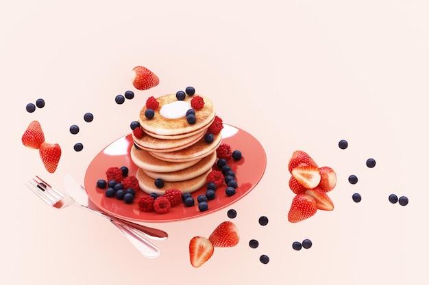 Panqueca com mirtilo e morango no prato em rosa pastel 3d render
