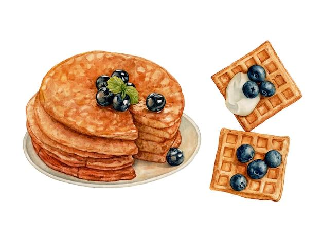 Panquecas em aquarela, waffles com mirtilos e creme isolado
