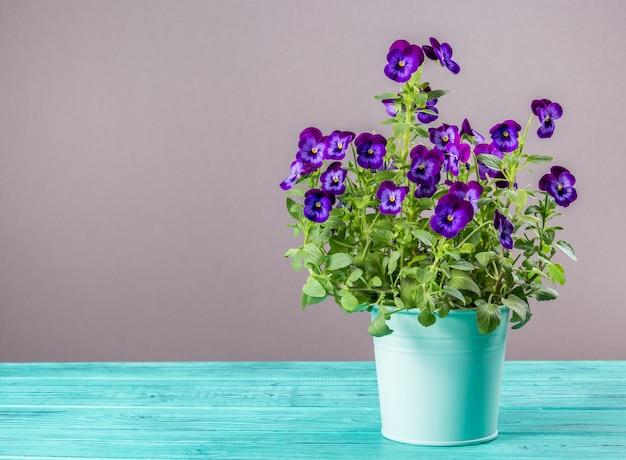 Pansies em vaso de flores em uma mesa de madeira