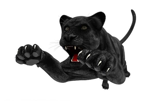 Pantera negra isolar no fundo branco, tigre preto, ilustração 3d, render 3d