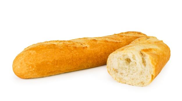 Pão branco e meio close-up isolado