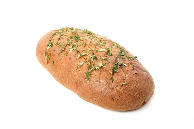 Pão com alho isolado no branco