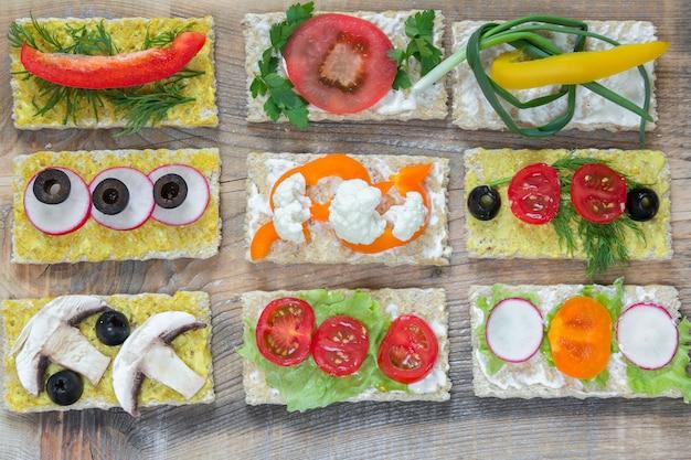 Pão com vegetais diferentes