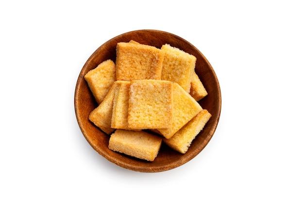 Pão crocante, manteiga, açúcar branco Foto Premium