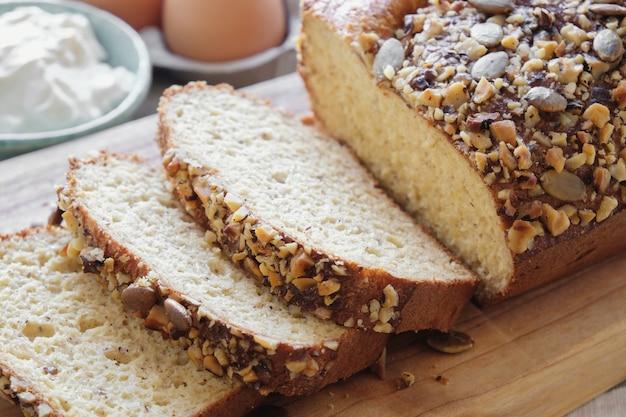 Pão de amêndoa saudável, alimento keto, dieta cetogênica, paleo, baixo teor de carboidratos de alto teor de gordura, livre de glúten