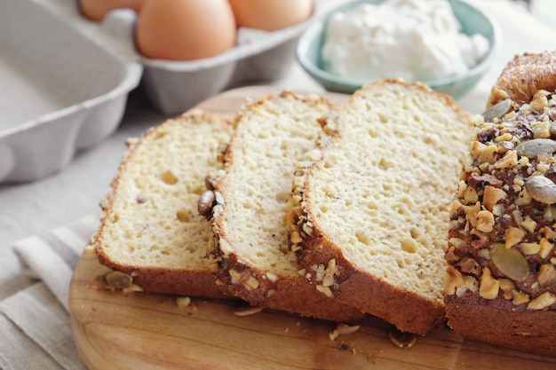 Pão de amêndoa saudável, keto, dieta cetogênica, paleo, baixo teor de gordura carb