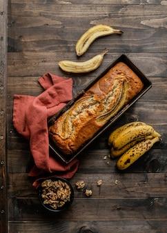 Pão de banana com vista superior