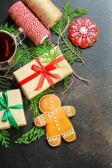 Pão de gengibre. presentes e feriado