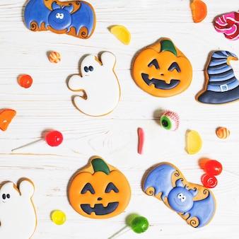 Pão de halloween entre bombons