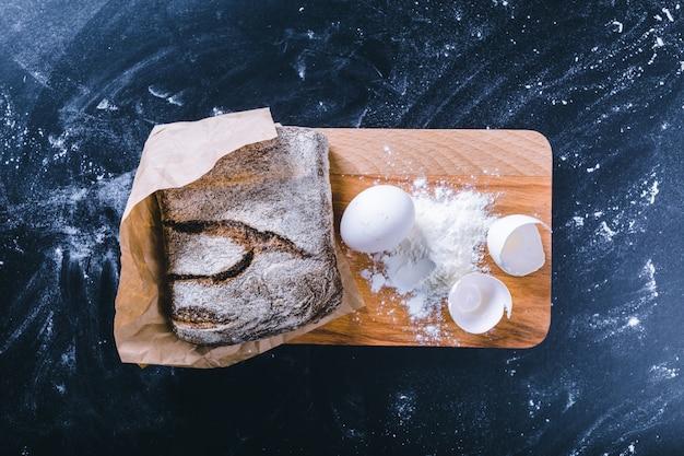 Pão de pão fresco, vista superior de comida