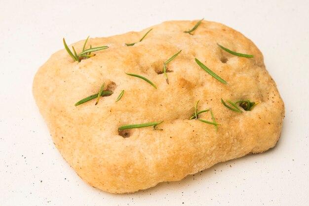 Pão de rosemary focaccia close up