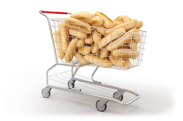 Pão em um carrinho de compras no fundo branco. renderização 3d