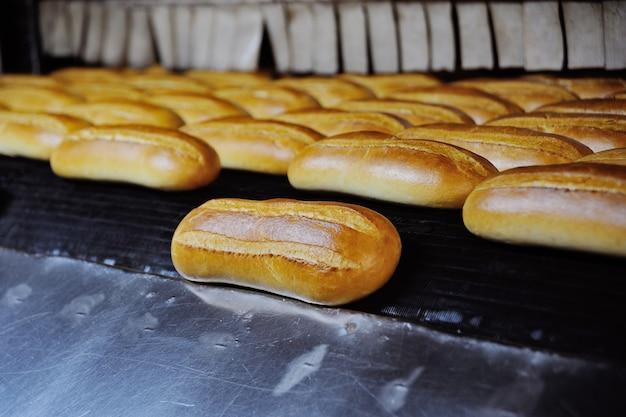Pão fresco acabado de assar na padaria