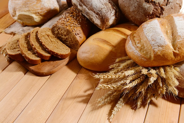 Pão fresco em close-up da mesa