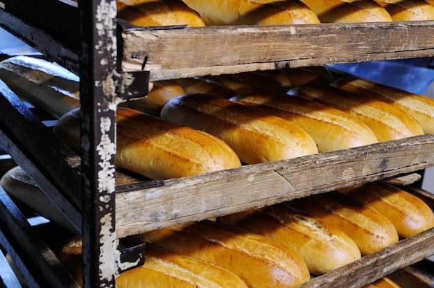 Pão fresco em uma prateleira em uma padaria