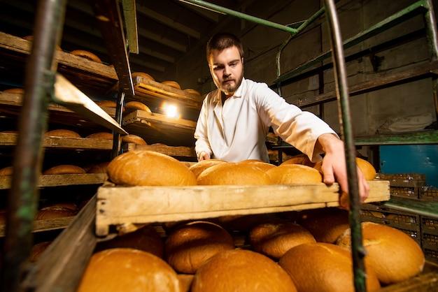 Pão. linha de produção de pão. um homem de uniforme. verificação sanitária.