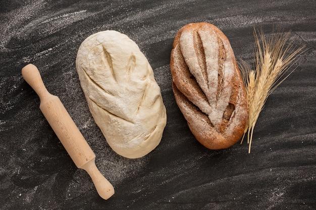 Pão não cozido e assado
