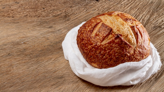 Pão redondo com espaço de cópia