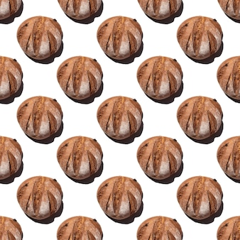 Pão redondo de centeio caseiro fresco sem costura padrão isolado no fundo branco, vista superior, moldura quadrada. pode ser usado como pano de fundo alimentar, base para têxteis, embalagens