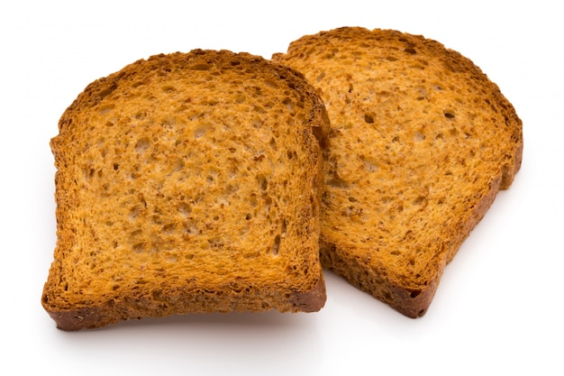 Pão torrado fatiado isolado no branco, vista superior.