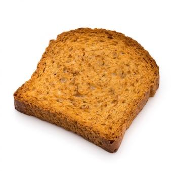 Pão torrado fatiado isolado no fundo branco, vista superior