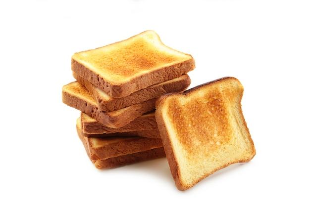 Pão torrado fatiado isolado, vista superior. fechar-se