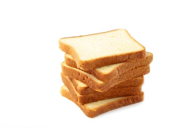 Pão torrado isolado. vista do topo