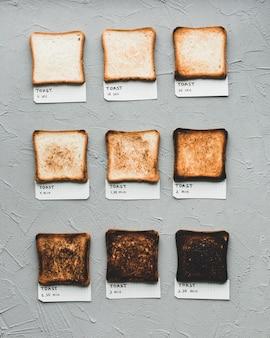 Pão torrado mostrando o tempo de fazer