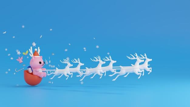 Papai noel andando de trenó durante a renderização 3d do natal
